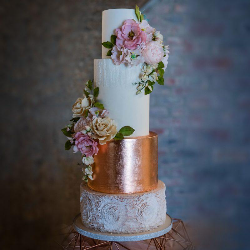 Rose Gold Leaf & Sugar Flower Wedding Cake