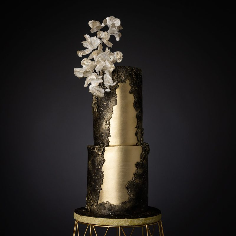 Black & Gold Wedding Cake With Wafer Paper Blossoms