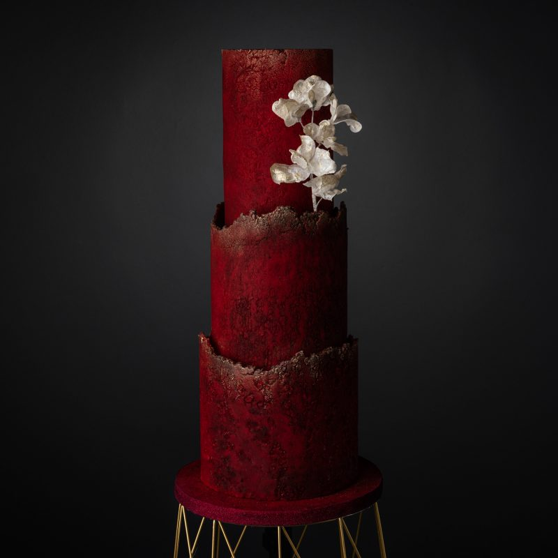 Crimson Wedding Cake With Wafer Paper Blossoms
